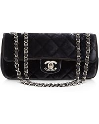 What Goes Around Comes Around Chanel Black Velvet East West 10in Bag - Lyst