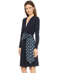 Issa Bea V Neck Jersey Dress Navy Multi - Lyst
