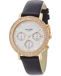 Kate Spade Metro Grand PavÉ Rose Goldtone Stainless Steel & Saffiano Leather Strap Chronograph Watch pink - Lyst