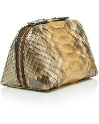 Metalskin - Burnished Metallic Snakeskin Two Way Zip Pochette - Lyst