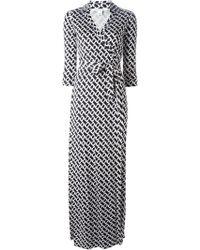 Diane von Furstenberg Chain Link Print Wrap Maxi Dress - Lyst