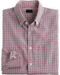 J.Crew Slim Seersucker Shirt In Red Tattersall blue - Lyst