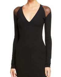 Donna Karan New York Long Sleeve V-Neck Dress With Mesh Shoulders And Superfine Jersey - Lyst
