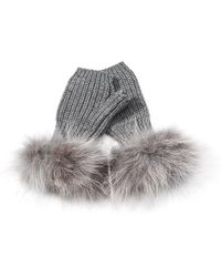 Inverni - Wool And Cashmere Fingerless Gloves With Coyote Fur - Lyst