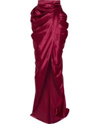 Balmain Draped Wool and Silkblend Satin Wrap Maxi Skirt - Lyst