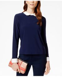 Cece by Cynthia Steffe - Contrast-collar Knit Top - Lyst
