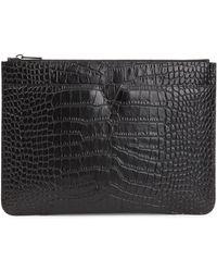 Vince - Black Crocodile-effect Leather Clutch - Lyst