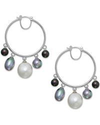 Majorica Sterling Silver Organic Man-made Pearl Drop Hoop Earrings - Lyst