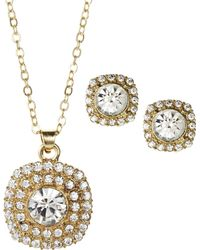Ak Anne Klein - Gold-Tone Square Earrings & Necklace Set - Lyst