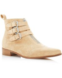 Tabitha Simmons Early Buckled Suede Ankle Boots beige - Lyst