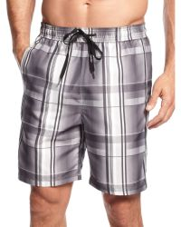 Calvin Klein Retro Plaid Swim Trunks - Lyst