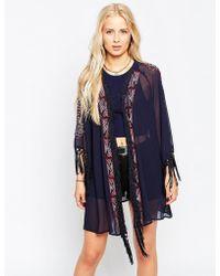 Hazel - Beaded Geo Fringe Kimono - Lyst