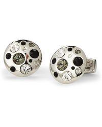 Duchamp | Silver-Tone & Black Round-Shaped Cuff Links | Lyst