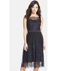 Cynthia Steffe Lace & Chiffon Midi Dress black - Lyst