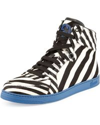 Gucci Zebraprint Calf Hair Hightop Sneaker - Lyst