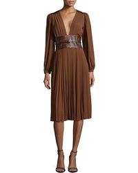 Michael Kors Pleated Dress With Embossed Belt - Lyst