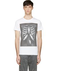 Diesel White Feather Ribcage Print T_rolt T_shirt - Lyst