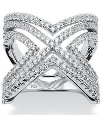 Palmbeach Jewelry - 2.10 Tcw Micro-pave Cubic Zirconia Crisscross Chevron Ring In Sterling Silver - Lyst