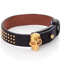 Alexander McQueen Skull Studded Leather Bracelet - Lyst