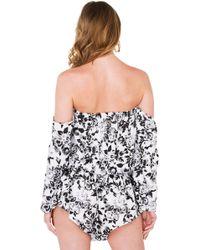 Akira Black Label - Baby Maybe Black White Floral Print Off Shoulder Romper - Lyst