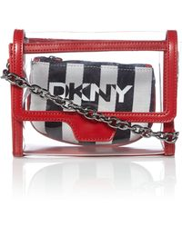 DKNY Saffiano Red Small Rounded Crossbody - Lyst