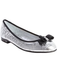 Dior Silver Quilted Leather Bow Detail Ballet Flats - Lyst