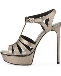 Saint Laurent - Bianca Metallic T-strap Sandal - Lyst