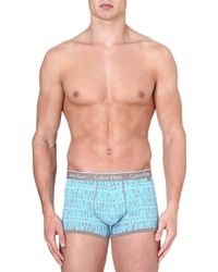 Calvin Klein Patterned Stretchcotton Trunks Gravel Grey - Lyst