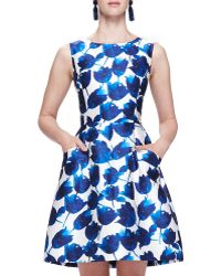 Oscar de la Renta Tulip-Print Dress With Pockets - Lyst