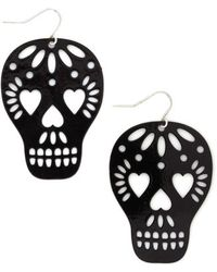Zad Fashion Inc. Too Close To Skull Earrings - Lyst