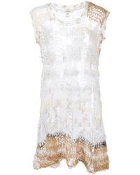 Rodarte Distress Knit Tank Top beige - Lyst