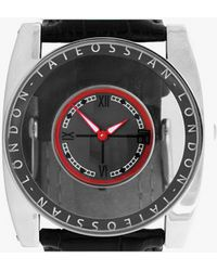 Tateossian | Gulliver Flottante Watch In Ion Plated Matte Black Finish And Red Enamel | Lyst