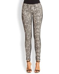 Roberto Cavalli Tweed-Print Skinny Jeans - Lyst