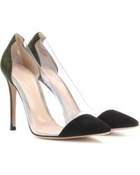 Gianvito Rossi Suede And Transparent Pumps - Lyst