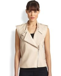 Ashley B Slim Lambskin Leather Vest - Lyst