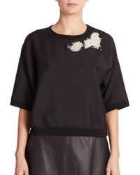 Vera Wang Embellished Short-Sleeve Mohair & Wool Sweatshirt black - Lyst