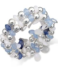 Style & Co. - Silver-tone Ice Blue Bead Coil Bracelet - Lyst