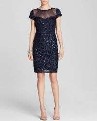 Adrianna Papell Dress Cap Sleeve Illusion Neck Sequin Sheath - Lyst