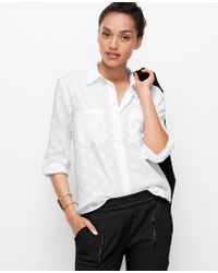 Ann Taylor Polka Dot Roll Sleeve Shirt - Lyst