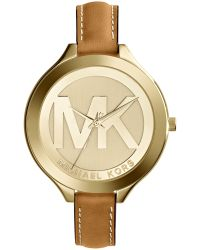 Michael Kors Womens Slim Runway Luggage Leather Strap Watch 42mm - Lyst