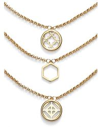 Tory Burch Triple Pendant Necklace - Shiny Gold gold - Lyst