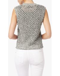 7 For All Mankind | Crochet Stitch Shell In Black/white | Lyst