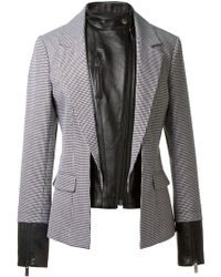 Christopher Kane Black and White Pied De Poule Print Wool and Leather Jacket - Lyst