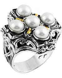 Konstantino - Silver & 18k Maltese Cross Pearl Ring - Lyst