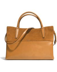 Coach The Large Soft Borough Bag in Retro Glove Tan Leather and Suede - Lyst