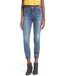 Tularosa - 'nora' Crop Distressed High Waist Skinny Jeans - Lyst