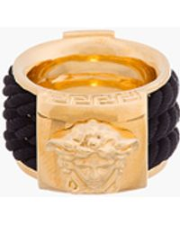 Versace Gold and Black Rope Emblem Ring - Lyst