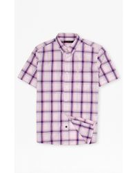 French Connection Candy Soft Checked Shirt purple - Lyst