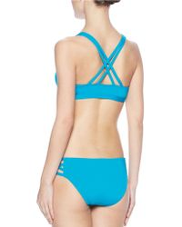 Carmen Marc Valvo - Lattice Solid Halter Strappy Bikini Bra - Lyst
