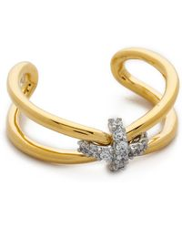 Giles & Brother - Skinny X Knot Pave Ring - Gold/Clear - Lyst
